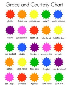 Grace and courtesy printable checklist/poster/chart. Love this idea!