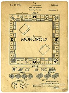 This is a print of the patent drawing for the Monopoly board game patent in The original patent has been cleaned up and enhanced to create an attractive display piece for your home or office…MoreMore Papel Vintage, Vintage Ephemera, Monopoly Board, Monopoly Game, Monopoly Money, Monopoly Crafts, Patent Drawing, Patent Prints, Vintage Games