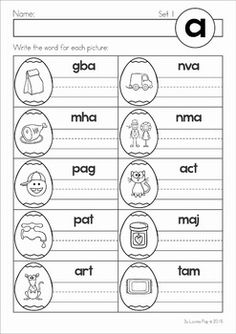 Most Popular Teaching Resources: Easter Egg CVC Literacy Center FREE