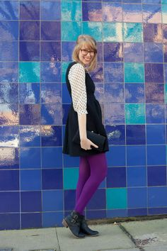 miss sixties via writes like a girl wearing Lauren Conrad for Kohls polka dot blouse layered under Forever 21 LBD with purple rights and black booties