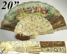 Superb HP Antique French Fan, Gold Silver Inlay Carved Ivory - Excellent Condition, with Tassel and Box