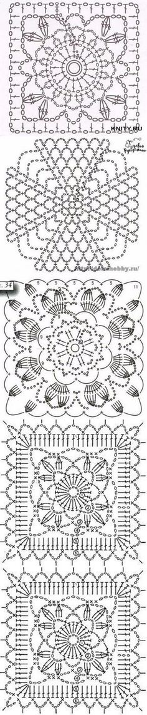 37 New ideas knitting charts symbols granny squares Crochet Motif Patterns, Crochet Symbols, Crochet Blocks, Granny Square Crochet Pattern, Crochet Diagram, Crochet Squares, Crochet Granny, Filet Crochet, Crochet Shawl