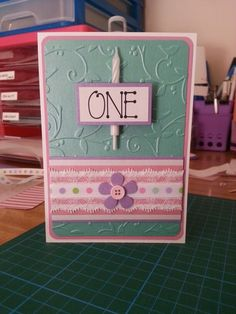 One year old girl birthday card