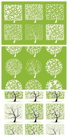 Green Spring Trees Vector. 3 Sets with 24 vector green spring trees for you. All tree are in EPS vector format and free for download.