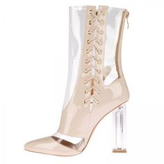 Rhianne Lace Up Ankle Boots In Nude Perspex