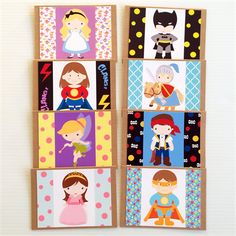 Children's Character Birthday Blank Card Set of 8 Cards for all Occasions