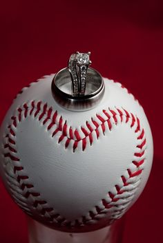 Play the Game with Heart. Baseball wedding ring photo. Love this!