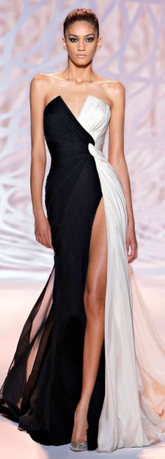 Black and White Colorblock Evening Dress 2015 Zuhair Murad White Fashion, Look Fashion, Fashion Design, Fashion Night, Beautiful Gowns, Beautiful Outfits, Elegant Dresses, Pretty Dresses, Evening Dress 2015