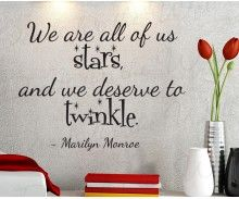 We Are All Stars And Deserve To Twinkle Marilyn Monroe Inspirational Home Motivational Inspiring Living Room Wall Decal Decor Vinyl Quote Sticker