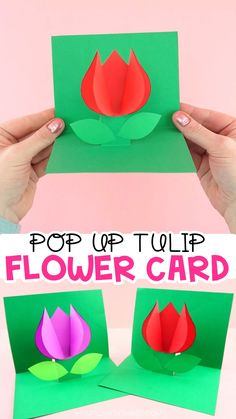 How to Make a Pop Up Flower Card -Easy spring tulip craft for kids! Use our free template to create this easy pop up flower card for a spring kids craft. Simple Mother's Day card or Valentine's Day card for kids to make. Wine Bottle Crafts, Mason Jar Crafts, Mason Jar Diy, Spring Crafts For Kids, Crafts For Kids To Make, Art For Kids, Easy Crafts, Kids Crafts, Kids Diy