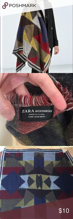 Zara MultiColor Plaid Blanket Scarf Bought in 2014.  Supposed to be similar to the Burberry blanket scarves that were so popular. Very warm.  From a non smoking, no pets home. Zara Accessories Scarves & Wraps