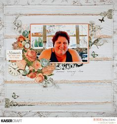 """""""Moments"""" layout by Rikki Graziani Design Team member for Kaisercraft using Ooh La La collection (October - Wendy Schultz - Scrapbook Layouts. Scrapbook Albums, Scrapbooking Layouts, Flower Canvas, Mini Books, Clear Stamps, Scrapbooks, Paper Crafts, Prints, Projects"""