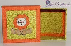 Caixa em MDF (madeira) trabalhada com tecido e patchwork embutido! Leão