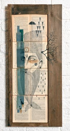 Signed acrylic, ink and collage on antique books.38 cm x 84 cm