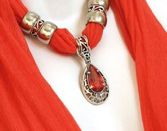 Red Jewelry Scarf with Pendant