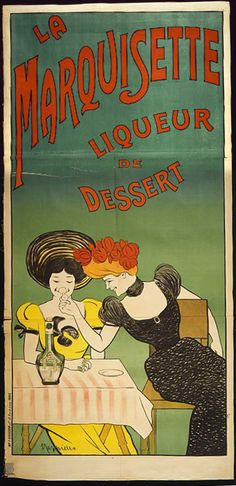 food, vintage, advertising, vintage posters, graphic design, free download, retro prints, classic posters, La Marquisette Liqueur de Dessert - Vintage Drink Advertising Poster