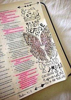 Putting a journaling Bible to good, creative use! Faith Bible, My Bible, Bible Scriptures, Bible Study Tools, Bible Study Journal, Prayer Journals, Art Journaling, Scripture Art, Bible Art