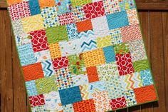 """This quilt pattern is great for beginning quilters! It is quick and easy to put together and it doesnt waste any fabric. This is a great way to show off fabrics in a variety of colors and patterns.  This pattern includes instructions for two baby quilts and a lap quilt. The pattern includes detailed color diagrams to guide you through every step of piecing the quilt.  Fabric Requirements:  Baby Quilt (36.5 x 45.5"""") - 20 - 10 x 10 squares - 12 fabric for binding - 1.5 yards fabric for backing…"""