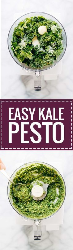5 Minute Vegan Kale Pesto - made with almonds, olive oil, kale, garlic, salt, and lemon juice. So easy and extremely versatile for use on pizza, salads, and pasta! Less than 150 calories per serving. | pinchofyum.com