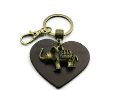 BrownBeans BBKC2003 Homemade Leather Cute Charm Elephant Keychain Key Chain Keyring Fob Holder with Small Clip Brown - Brass Tone