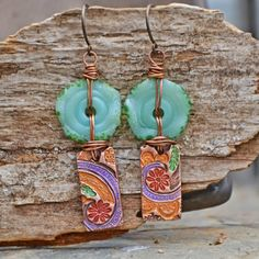 Kimono Earrings, Mint Glass Discs by NuminosityBeads, Colorful Copper by KristiBowmanDesign. Earrings Everyday