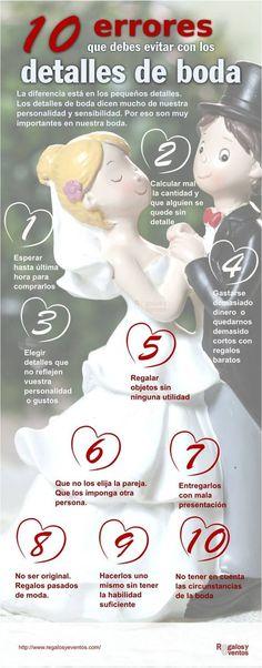 Infografía: Diez errores que debes evitar con los detalles de boda
