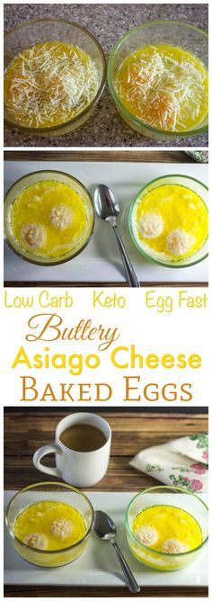 These low carb keto diet Buttery Asiago Baked Eggs make a tasty meal. So easy to make with only 1.7g carbs per serving. Enjoy them for breakfast, lunch or dinner!