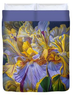 Fionacraig Duvet Cover featuring the painting Floralscape 2 - Mauve And Yellow Irises 1 by Fiona Craig