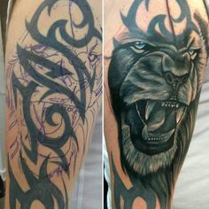 Lion cover up tattoo by Seb. Limited availability at Redemption Tattoo Studio. Lion cover up tattoo by Seb. Limited availability at Redemption Tattoo Studio. Tribal Lion Tattoo, Mens Lion Tattoo, Lion Tattoo Design, Tiger Tattoo, Tattoo Designs, Cover Up Tattoos For Men, Black Tattoo Cover Up, Tattoos For Kids, Tattoos For Women