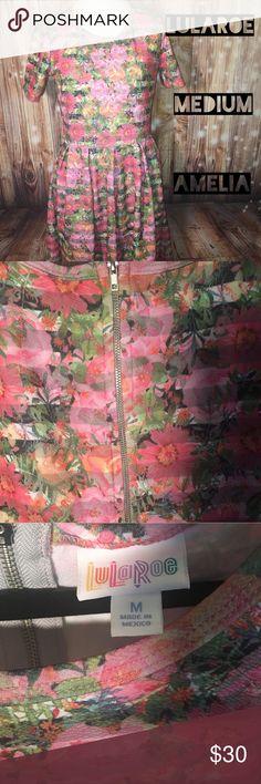 LulaRoe Amelia Dress Size Medium LulaRoe Amelia Floral and Stripes dress. Worn once and washed per LulaRoe directions. LuLaRoe Dresses