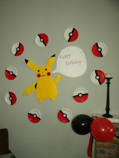 Pokemon Birthday Party ideas:: Just a Frugal  Mom blog...paper plates, painted?