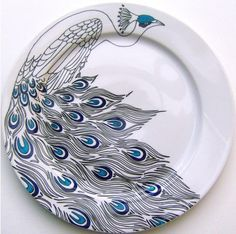 eeeek — I wish I could do this. hand drawn peacock serving place by jim bob art. \\