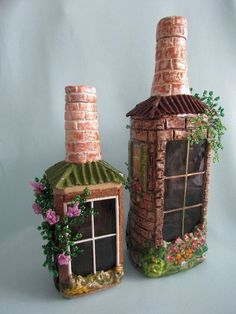 Best Miniature DIY Fairy Garden Ideas & Accessories Your Kids Love Glass Bottle Crafts, Wine Bottle Art, Diy Bottle, Alcohol Bottle Crafts, Diy With Glass Bottles, Decorate Wine Bottles, Wine Bottles Decor, Paint Wine Bottles, Bottle Decorations