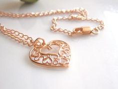 Rose Gold Heart Charm Necklace by cocowagner on Etsy, $24.00