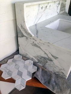 gorgeous marble by Little Green Notebook for guest bath.  She's doing a black clawfoot tub and that beautiful hex tile too