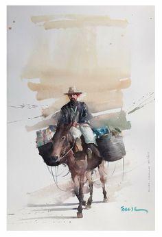 Watercolor Sketch, Watercolor Artists, Watercolor Animals, Watercolor Portraits, Watercolor Landscape, Watercolor Paintings, Watercolors, Painting People, Figure Painting