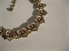 Vintage 1950s Necklace Floral Rhinestone #vintage #wedding #necklace #bridalfashions #madmen #1960s @Etsy