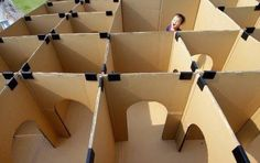 DIY Backyard maze Paint cardboard green like hedges and place fun objects through out.