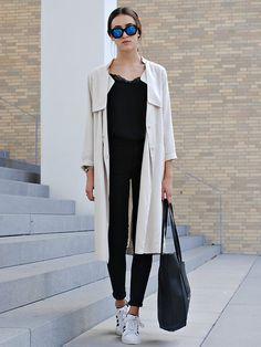 Céline Celine Sunglasses, H&M Trenchcoat, H&M Lace Shirt, Zara Big Shopper Bag, Adidas Superstar Ii, Pieces Black Skinny Jeans