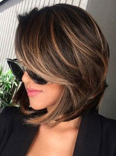 Short Hairstyles With Highlights Side View Ideas Highlighted For Women Hair 2018 And Lowlights Dark Stock Photos HD | TMP1