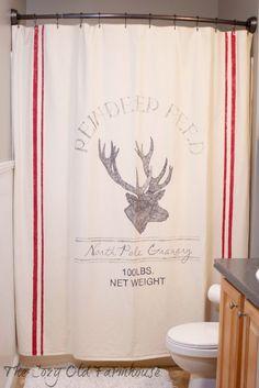 """The Cozy Old """"Farmhouse"""": A Christmas Feed Sack Shower Curtain"""