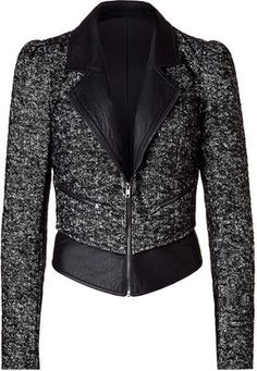 ShopStyle: Bird by Juicy Couture Black leather and tweed biker jacket