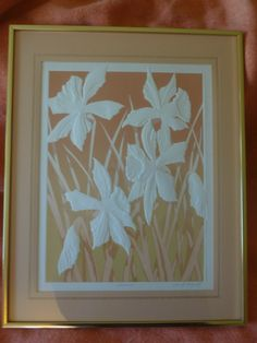 "Signed by Artist David Allgood, 1983, ""Daffodils"", Embossed, Framed with Glass 