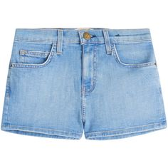 Current/Elliott The High Waist Denim Shorts ($110) ❤ liked on Polyvore featuring shorts, blue, highwaisted shorts, blue high waisted shorts, short jean shorts, slim shorts and jean shorts