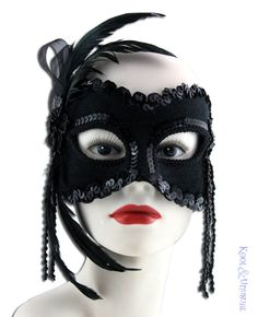 Masquerade Mask Black Velvet with Feathers Beads