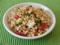 """I hadn't heard of couscous until I traveled to Israel & its a favorite now! You can do so many things with it. This is """"Greek Israeli Couscous Salad"""""""