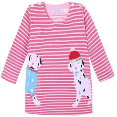 Cute Kids Girl's O-Neck Striped Long Sleeve Cartoon Pattern Casual Dress