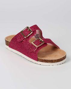 New-Girl-Ifama-Glitter-Open-Toe-Double-Buckle-Footbed-Sandal-Size-11-4