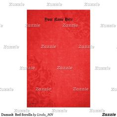 Damask  Red Scrolls Stationery