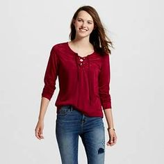 Women's Lace Up Lace Top - Self Esteem(Juniors') : Target